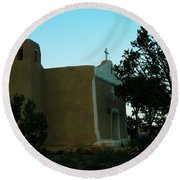 An Adobe Church In New Mexico Round Beach Towel