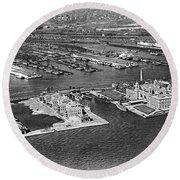 An Aerial View Of Ellis Island Round Beach Towel