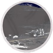 An Aerial View Of The San Xavier Mission No Date-2013  Round Beach Towel