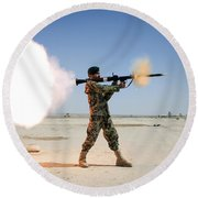 An Afghan National Army Soldier Fires Round Beach Towel by Stocktrek Images