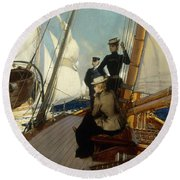 An Afternoon At Sea  Round Beach Towel by Albert Lynch