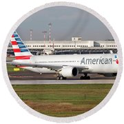 An American Airlines Boeing 767 Round Beach Towel