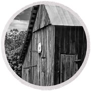 An American Barn Bw Round Beach Towel by Steve Harrington