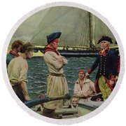 An American Privateer Taking A British Prize, Illustration From Pennsylvanias Defiance Round Beach Towel