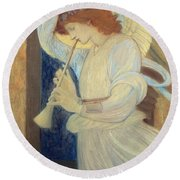 An Angel Playing A Flageolet Round Beach Towel