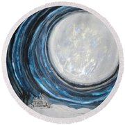 An Apparition Of The Moon  Round Beach Towel
