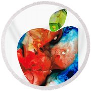 An Apple A Day - Colorful Fruit Art By Sharon Cummings  Round Beach Towel by Sharon Cummings
