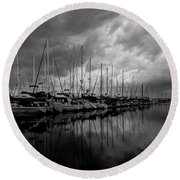 An Approaching Storm - Black And White Round Beach Towel