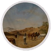 An Arabian Camp Round Beach Towel by Eugene Fromentin