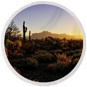 An Arizona Morning  Round Beach Towel