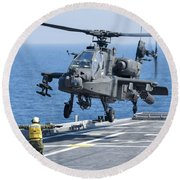 An Army Ah-64d Apache Helicopter Round Beach Towel