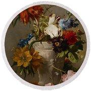 An Arrangement With Flowers Round Beach Towel by Georgius Jacobus Johannes van Os