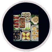 An Assortment Of Food In Containers Round Beach Towel
