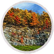 An Autumn Day Painted Round Beach Towel