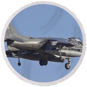 An Av-8b Harrier II Flying Over Yuma Round Beach Towel