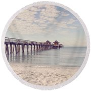 An Early Morning - Naples Pier Round Beach Towel