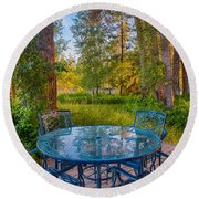 An Early Morning On The Deck At Cottonwood Cottage Round Beach Towel