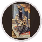 An Early Painting Of Fath Ali Shah Round Beach Towel