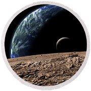 An Earth-like Planet In Deep Space Round Beach Towel by Marc Ward