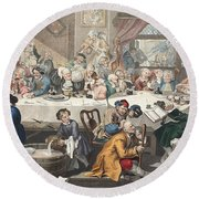 An Election Entertainment, Illustration Round Beach Towel by William Hogarth