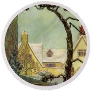 An English Country House Round Beach Towel