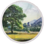 An Englishman's Castle Round Beach Towel