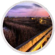 An Evening At The Marsh Round Beach Towel