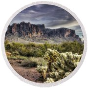 An Evening At The Superstitions Round Beach Towel