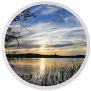 An Evening In Lakes Country Round Beach Towel