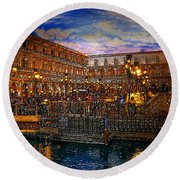 An Evening In Venice Round Beach Towel by David Lee Thompson