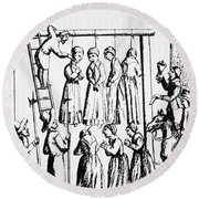 An Execution Of Witches In England Round Beach Towel