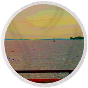 An Expanse Of Sky And Sea Twilight Fishing The Canal St Lawrence River Scenes Art Carole Spandau Round Beach Towel