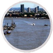An Expansive View From The Tower Bridge Round Beach Towel