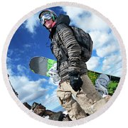 An Extreme Snowboarder Stands Round Beach Towel