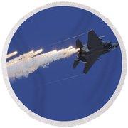 An F-15e Strike Eagle Releases Flares Round Beach Towel