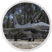 An F-16a Fighting Falcon Round Beach Towel