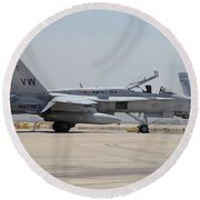 An Fa-18c Hornet At Marine Corps Air Round Beach Towel