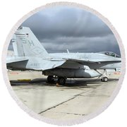 An Fa-18c Hornet On The Ramp At Marine Round Beach Towel