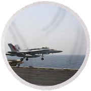 An Fa-18c Hornet Takes Round Beach Towel by Stocktrek Images
