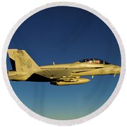 An Fa-18f Super Hornet Displays Round Beach Towel