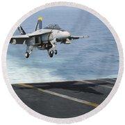 An Fa-18f Super Hornet Prepares To Land Round Beach Towel