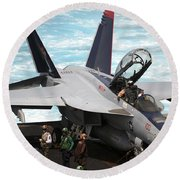 An Fa-18f Super Hornet Sits Round Beach Towel by Stocktrek Images