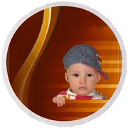 An Image Of A Photograph Of Your Child. - 05 Round Beach Towel
