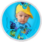 An Image Of A Photograph Of Your Child. - 06 Round Beach Towel