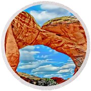 An Impression Of Arches National Park Round Beach Towel