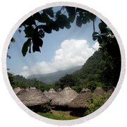 An Indigenous Village In The Jungles Round Beach Towel