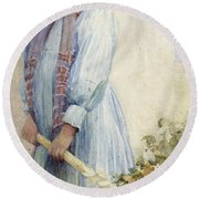 An Italian Peasant Girl Round Beach Towel by Ada M Shrimpton