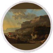 An Italianate Landscape With Travellers Ambushed By Bandits Round Beach Towel