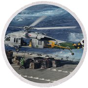An Mh-60s Sea Hawk Helicopter Picks Round Beach Towel