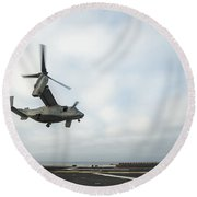 An Mv-22 Osprey Is Guided Onto Round Beach Towel by Stocktrek Images